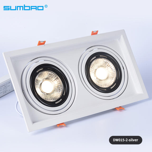 New style 2X18w,2X24w led recessed lamp double head square dimmable spotlight anti-glare adjustable beam angle with 2x155mm cut out