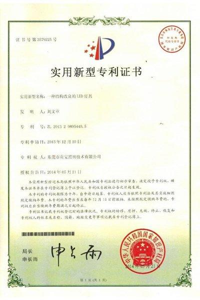 The Improved Structure Led Lamps Patent Certificate