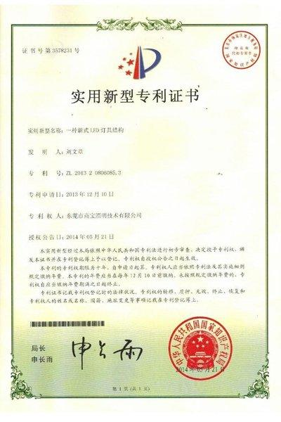 The New Structure Led Lamps Patent Certificate