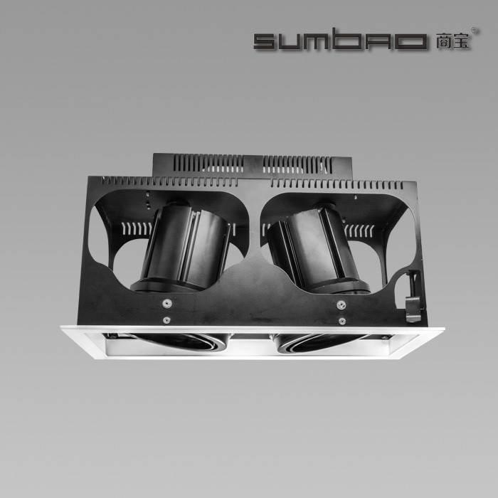 DW030-2 SUMBAO Professional Multi- Head Square Trim Recessed 24W/30W Spotlights for High End Retail Shops