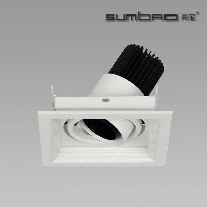 DW031-1 SUMBAO Professional Single- Head Square Trim Recessed 6W10w Low Vottage Spotlights for High End Retail Shops