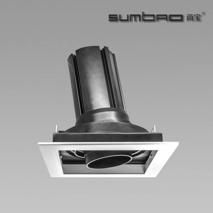 DW052-1 SUMBAO Professional Single Head Square Trim Recessed 24W Spotlights for Retail Shops