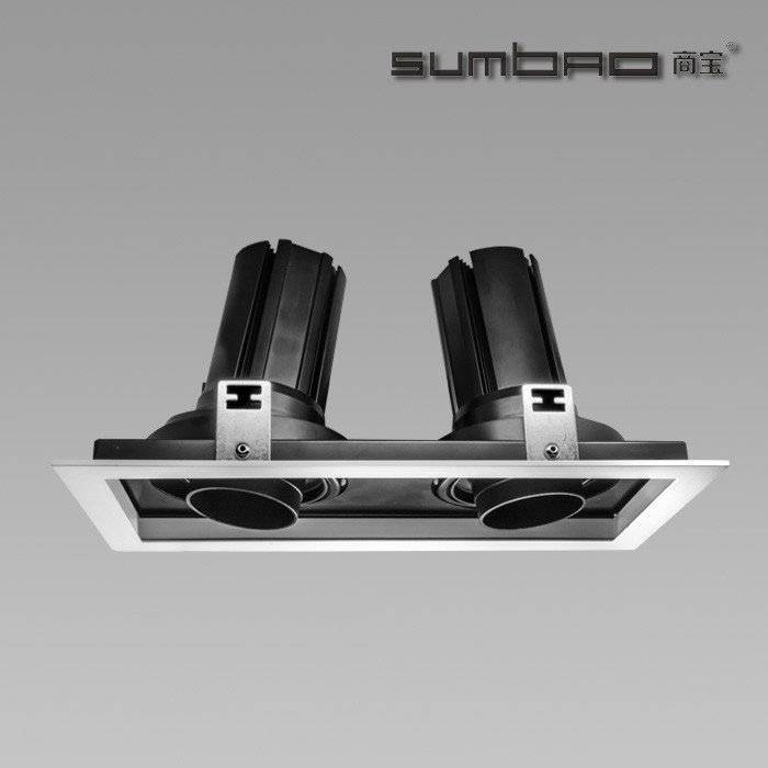 DW052-2 SUMBAO Professional Multi- Head Square Trim Recessed 24W Spotlights for Retail Shops