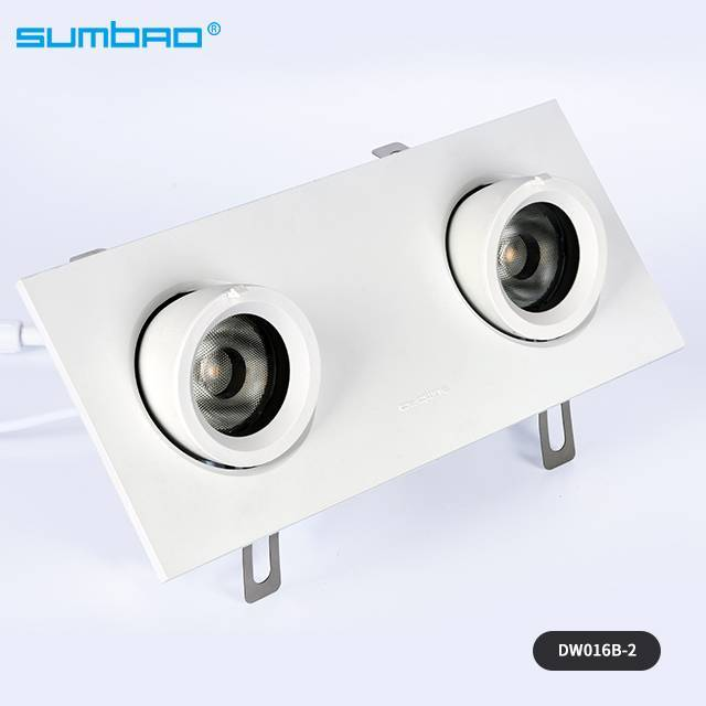 New style DW016A/B-2 2x15w led recessed lamp round double head dimmable spotlight anti-glare adjustable beam angle wall washer